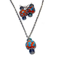 Orange and Bright Blue Polka Dot Crystal Necklace and Earring Set