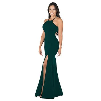 Green Halter Long Formal Dress Cut-Out Back with Slit