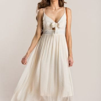 Cadence Ivory Front Tie Maxi Dress