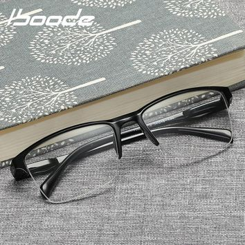 iboode Half Frame Reading Glasses Presbyopic Eyewear Male Female Far sight Glasses Ultra Light Black with strength +25 to +400