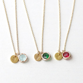 gemstone personalized initial necklace, birthstone necklace, bridesmaid gifts, dainty necklace,birthday,wedding jewelry, gift for mom