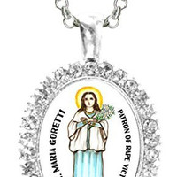St Maria Goretti Patron of Rape Victims Cz Crystal Silver Necklace Pendant