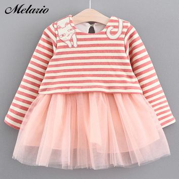 Melario Baby Dresses 2017 New Spring Autumn Baby Girls Clothes Cat Printing Girls Party Dress Princess Dress Newborn Dress