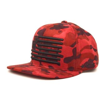 Suede American Flag Snapback in Red Camo