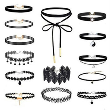 Fashion Lace Necklace 14Pcs Black Velvet Chocker -03322