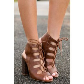 Walk It Out Lace up Heels-Brown