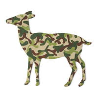 Camouflage Deer Wall Decor, female deer rustic cabin sign, lodge decor, doe wall hanging hand painted wood in chocolate brown and khaki