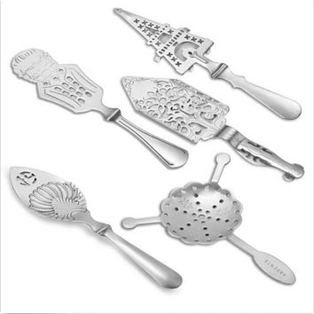 Multi Shape Stainless Steel Absinthe Spoon Cocktail Bar Utensils Bitter Scoop Absinthe Glass Cup Drink Ware Spoons Mini Filter