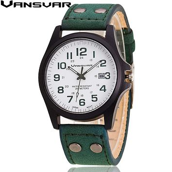 VANSVAR  Men Wrist Watches Casual Leather Military Watch Analog Quartz Watch Relogio Masculino 1847