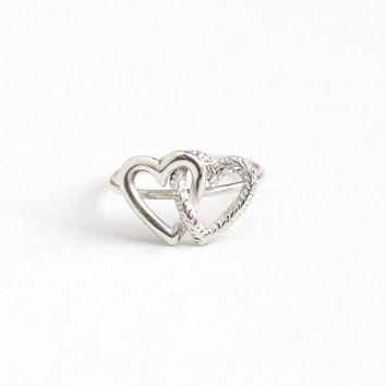 Antique Victorian Sterling Silver Intertwined Double Heart Ring - 1900s Size 3 3/4 Dai