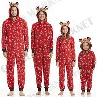 Family Matching Christmas Pajamas Romper Jumpsuit Women Men Baby Kids Red Print Xmas Sleepwear Nightwear Hooded Zipper Outfits