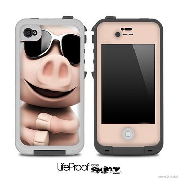 Cute Pig Face with Shades Skin for the iPhone 5 or 4/4s LifeProof Case