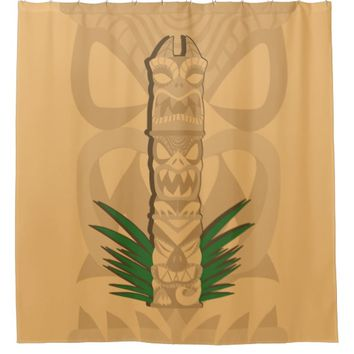 Dinosaur Tiki Totem Shower Curtain