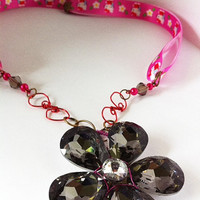 large crystal flower pendant with Hello Kitty ribbon necklace