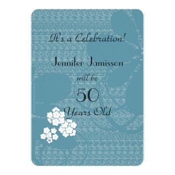 50 Years Old Blue Floral Birthday Party Invite