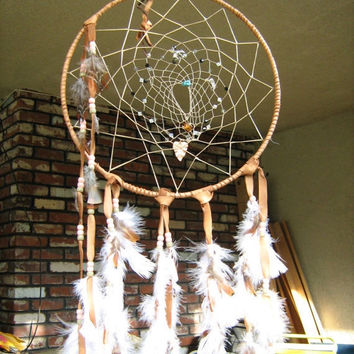 Crystal Magic Jeweled Large Dreamcatcher, Native American inspired,handmade in rich designer leather,gemstones,charms