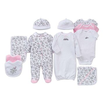 Little Me Baby Girls Preemie-9 Months Footed Coverall/Hat Set, Bib/Burpcloth Set, Gown, and 3-Pack Bodysuits Layette Collection | Dillards