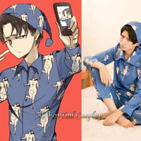 Attack on Titan Shingeki no kyojin Levi Captain Cosplay Pajamas (FT053)