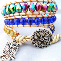 Royal Blue and Yellow Peacock Leather Wrap Bracelet with Owl Charm