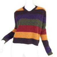 Vintage 90s Striped Wool Womens Sweater - Medium - Brown Gold Purple Red Green Jewel Tone Cropped Fuzzy Knit Pullover Jumper - Size Small