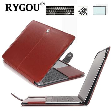 Pu Leather Case Clip on Book Case & Keyboard Cover & Screen Protector for Macbook air pro retina 11 13 15 inch laptop bag Cases