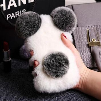 Winter warm fur plush toys mobile phone case for iphone 7 7 Plus iphone 6 6s 6 plus 6s plus + Nice gift pearl necklace-170928