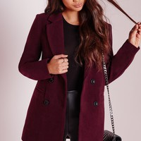 Missguided - Double Breasted Tailored Wool Coat Burgundy