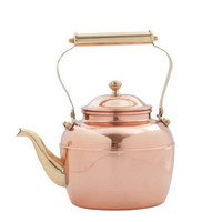 2.5 Qt. Solid Copper Tea Kettle w/Brass Handle