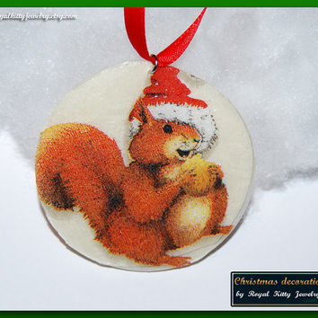 Squirrel Christmas decoration,  handmade Christmas decoration, decoupage decoration, Christmas Ornament, Christmas Gift.