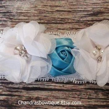 Blue Rose Headband / White Chiffon Headband / Lace Headband / Beautiful Headband / Baby Headband / Baby Girl Headband / Baby Bows / Hair Bow