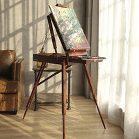 Always Classic Portable Painting Easel Wooden Oil Painting Palette Box with a Shoulder Strap