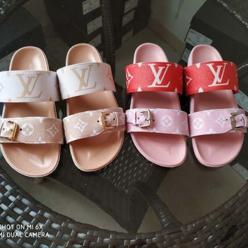 LV Louis Vuitton Women's Leather Bom Dia Sandals