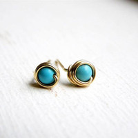 Turquoise Post Earrings Gold Fill Gold Stud by lavenders on Etsy