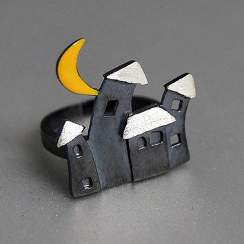 Village at Night Big Statement Adjustable Ring Sterling Silver Oxidized Black Houses Yellow Crescent Moon Peaceful Image Gift Modern Woman