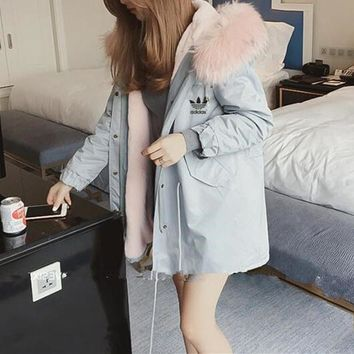 """Adidas"" Women Casual Simple Fashion Long Sleeve Fur Collar Hooded Cotton-padded Clothes Coat"