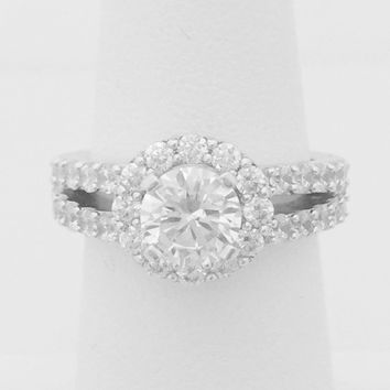 1 Carat Cubic Zirconia Halo Engagement Ring on Split Shank Stone Setting (Silver) by CZ Sparkle Jewelry®