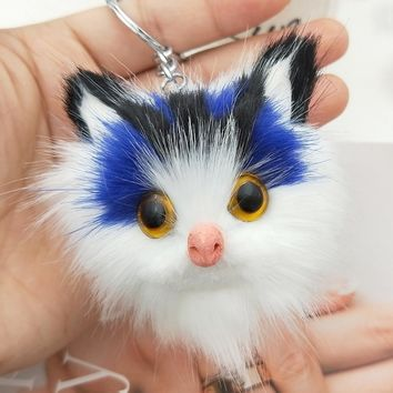 1 pc Silver Tone Fluffy Pompom Fur Cat Keychain 6 Colors