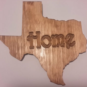 Texas Home state shape reclaimed wood wall sign