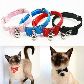 Soft Velvet Cute Pet Cats Necklace Buckle Neck Strap Puppy Bowknot Adjustable Collar With Bell
