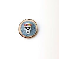 Hand Embroidered Skull Brooch Pin / Wooden Brooch Pin / Embroidery Flower