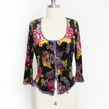 Vintage Betsey Johnson Blouse 1990s Floral VELVET Top- Small S