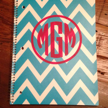 Monogrammed Chevron Notebook by OwlOutfitters on Etsy