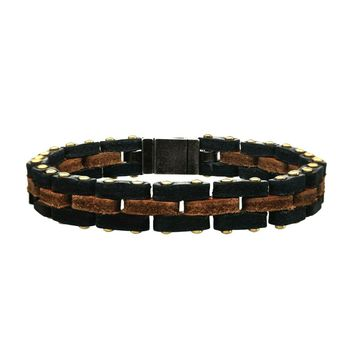 316L Antique S.Steel Box Clasp Genuine Leather Link Men's Bracelet 8.25""