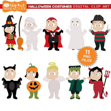 Halloween costume clip art, Halloween clipart, Halloween graphics, Cute halloween illustration, Commercial use, Personal use clip art