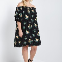 Lemon Floral Off the Shoulder Dress Plus Size