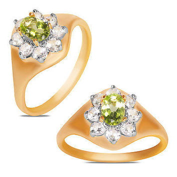 Peridot and Created White Sapphire Ring 10k Y/Gold