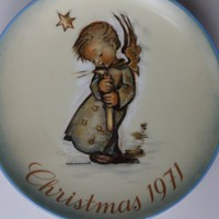 1971 Hummel Christmas Plate, Vintage Collectible Limited First Edition HEAVENLY ANGEL, Schmid West Germany