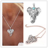 Fashion Summer Beach Jewelry Necklaces & Necklaces Silver Turquoise Elephant Collier Ladies Pendant Necklace for Women