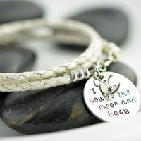 I Love You To The Moon and Back Leather Wrap Bracelet