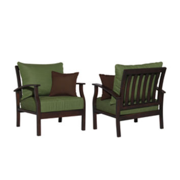 Shop allen + roth Set of 2 Eastfield Aluminum Patio Chairs with Solid Green Cushions at Lowes.com